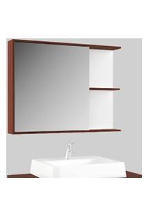 Espelheira Banheiro 80Cm Prateleiras Cinamomo Lilies Móveis