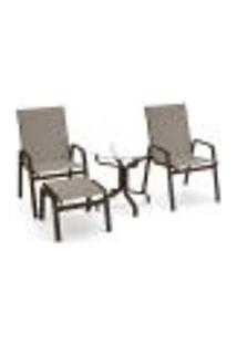 Conjunto 2 Cadeiras Mesa Riviera Alumínio Marrom Tela Mocca