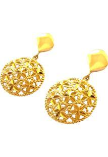 Brinco Pratamil De Ouro Com Zircônia - Feminino-Ouro