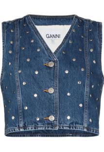 Ganni Colete Jeans Com Aplicação De Tachas - Azul