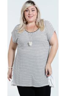 fa531f6d9a ... Blusa Feminina Plus Size Listrada Recorte Marisa