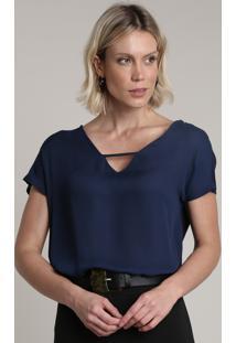 Blusa Feminina Ampla Com Vazado Manga Curta Decote V Azul Marinho