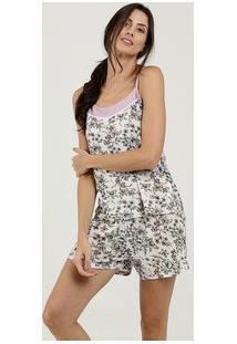 Pijama Feminino Estampa Floral Alças Finas Marisa