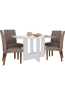Mesa De Jantar Sevilha Com 4 Cadeiras Off White