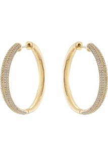 Brinco Aea Argola Luxo Cravejada Em Zircônias Brancas Folheado Ouro 18K - Feminino-Dourado