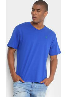Camiseta U.S. Polo Assn Gola V Masculina - Masculino-Azul Royal