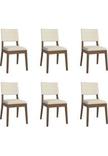 Conjunto Com 6 Cadeiras De Jantar Ella Bege