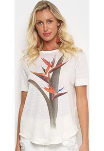 Camiseta Osklen Strelitza Color Feminina - Feminino-Bege