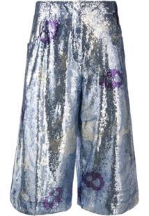 Jacquemus Calça Cropped Floral Com Aplicação De Paetês - Azul