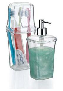 Kit Para Banheiro Com Porta Escova E Porta Sabonete Líquido Branco Arthi