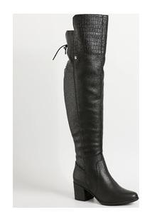 Bota Feminina Over The Knee Textura Croco Bottero