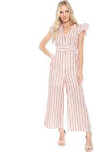 Macacão Lily Fashion Pantacourt Listrado Branco/Rosa
