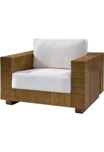 Poltrona Maden Assento Cor Branco Com Base Madeira Apui Revestido Em Junco - 44822 - Sun House