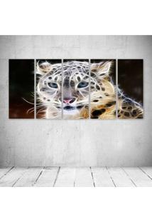 Quadro Decorativo - Leopard Neon Face (2) - Composto De 5 Quadros