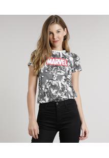 Blusa Feminina Estampada Os Vingadores Manga Curta Decote Redondo Cinza