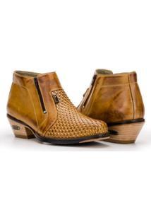 Bota Trisse Country Capelli Boots Couro Cano Curto Com Zíper Masculina - Masculino-Marrom