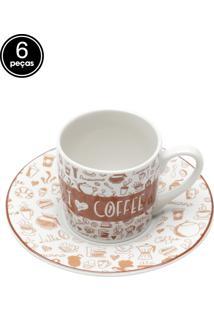 Conjunto 6Pçs Xícaras De Cerâmica Para Café Com Pires Coffee Lovers 90Ml Bon Gourmet