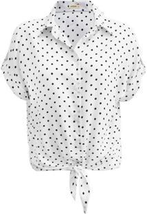 Camisa Intens Manga Curta Viscose Poá Branca