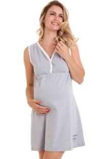 Camisola Gestante Com Algodão Conforto Luna Cuore - Feminino-Cinza+Rosa