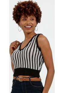 Blusa Feminina Cropped Tricô Listrada Marisa