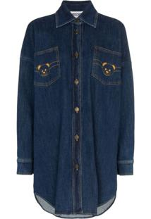 Moschino Chemise Jeans Teddy Com Logo - Azul