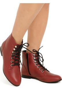 Ankle Boot Em Couro Vermelho Com Detalhes Prata