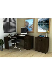 Conjunto Home Office 2 Peças Tecno Mobili: 1 Escrivaninha Em L E 1 Balcão - Tabaco - Multistock