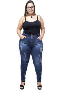 Calça Jeans Xtra Charmy Plus Size Cigarrete Meriana Xtra Charmy Jeans Feminina - Feminino-Azul