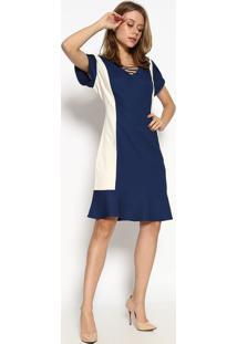 Vestido Com Tiras - Azul Marinho & Brancoscalon