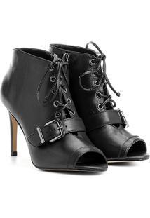 Ankle Boot Couro Shoestock Fivela - Feminino-Preto