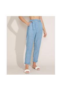 Calça Jeans Feminina Mom Clochard Cintura Super Alta Com Faixa Para Amarrar Azul Claro