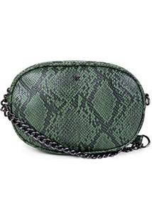 Bolsa Hering Mini Bag Alça Corrente Snaker Feminina - Feminino-Verde