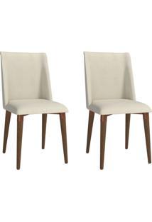 Conjunto Com 2 Cadeiras De Jantar Thyra Bege