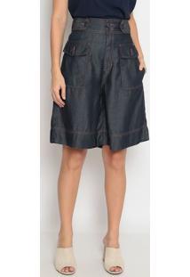 Bermuda Jeans Com Bolsos - Azul Escuroenna