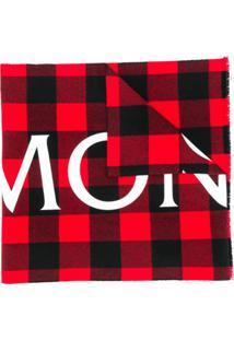 Moncler Cachecol Xadrez De Lã Com Logo - Vermelho