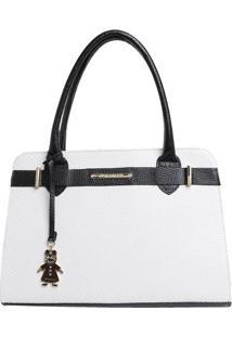 Bolsa De Mão Em Couro Com Bag Charm - Branca & Pretadi Marlys