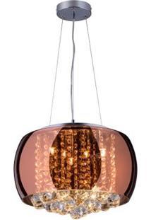 Lustre Pendente Cristal, Vidro E Aço Com Cabo Ajustável 150Cm Cobre Attractive 40 Startec