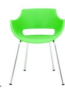 Cadeira Frida Base Fixa Cromada Cor Verde - 30364 Sun House