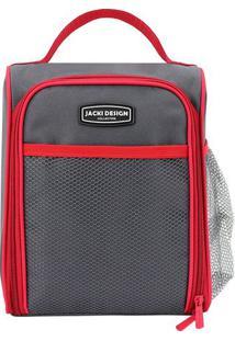 Bolsa Térmica Retangular- Cinza & Vermelha- 19X12X24Jacki Design