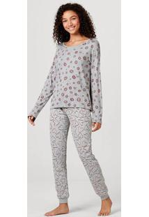Pijama Feminino Estampado Em Viscose E Algodão
