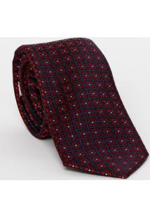 Gravata Em Seda Quadriculada - Vermelho Escuro & Azul Madudalina