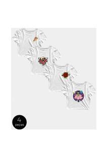 Kit Com 4 Blusinhas Cropped Blusa Tshirt Camiseta Feminina Alien Pizza Flor Rosas Caveira Skull Rock Roll Branca Branco