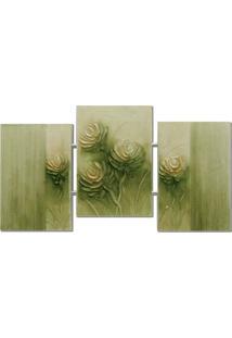 Quadro Artesanal Trio Com Textura Abstrato Verde Uniart