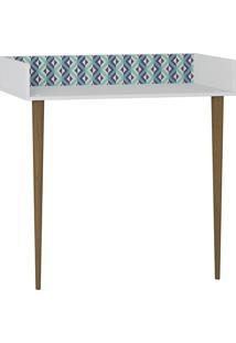 Aparador Escrivaninha Retrô – Be Mobiliário. - Branco / Estampa Azul
