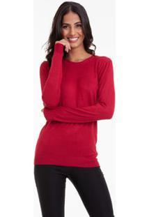 Suéter Kinara Tricot Gola Redonda - Feminino-Vermelho