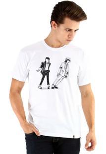 Camiseta Ouroboros Manga Curta Michael Jackson - Masculino-Branco