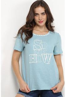 Camiseta Forum Linho Somehow Feminina - Feminino-Azul Escuro