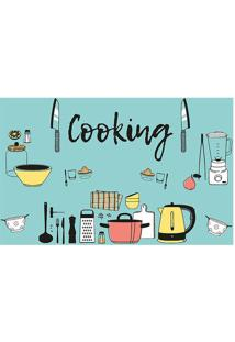"Tapete Transfer ""Cooking""- Azul & Amarelo- 60X40Cm"
