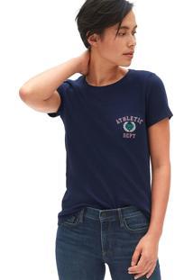 Camiseta Gap Bordado Azul-Marinho - Azul Marinho - Feminino - Algodã£O - Dafiti