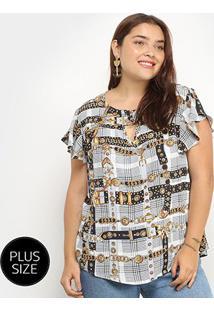 Blusa Xadrez Lemise Cintos & Fivelas Plus Size Feminina - Feminino-Preto